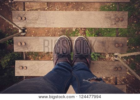 Looking down on feet using selective focus