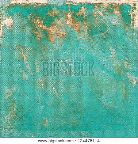 Grunge retro texture, aged background with vintage style elements and different color patterns: yellow (beige); brown; green; blue; cyan