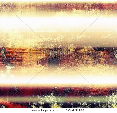 Abstract dirty texture or grungy background. With old style decorative elements and different color patterns: yellow (beige); red (orange); purple (violet); white; pink