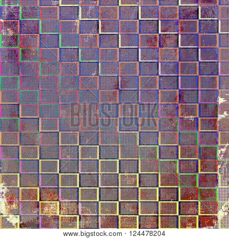 Scratched vintage texture, grunge style frame or background. With different color patterns: brown; green; blue; red (orange); purple (violet)