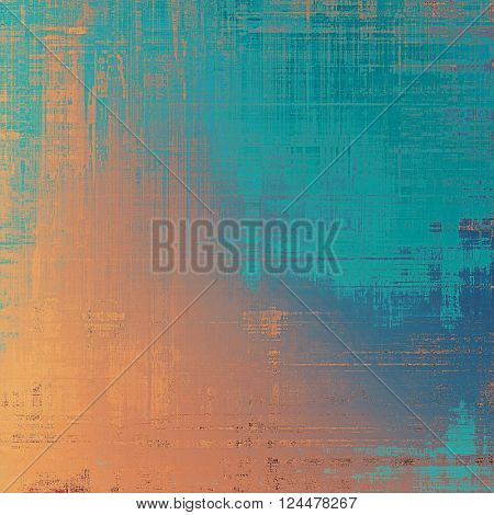 Traditional grunge background, scratched texture with vintage style design and different color patterns: yellow (beige); brown; blue; red (orange); cyan