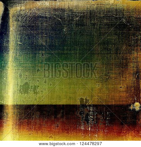 Retro grunge vintage background or weathered antique texture with different color patterns: yellow (beige); brown; green; blue; red (orange); black