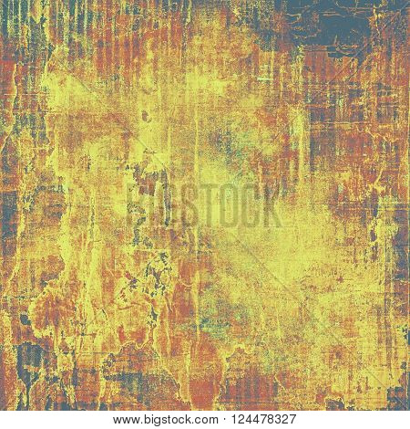 Ancient texture or damaged old style background with vintage grungy design elements and different color patterns: yellow (beige); brown; red (orange); black