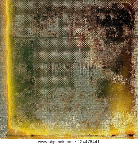 Grunge background with vintage style graphic elements, retro feeling composition and different color patterns: yellow (beige); brown; green; gray
