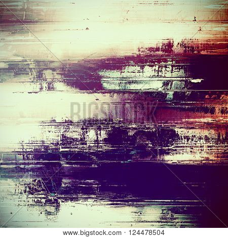 Grunge retro texture, aged background with vintage style elements and different color patterns: yellow (beige); red (orange); purple (violet); white; pink; cyan