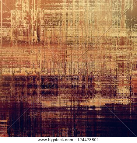 Abstract vintage background with faded grungy texture. Aged backdrop with different color patterns: yellow (beige); brown; red (orange); purple (violet); gray
