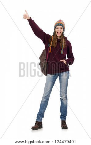 Smiling student with backpack isolated on white