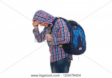 Tired student with backpack isolated on white