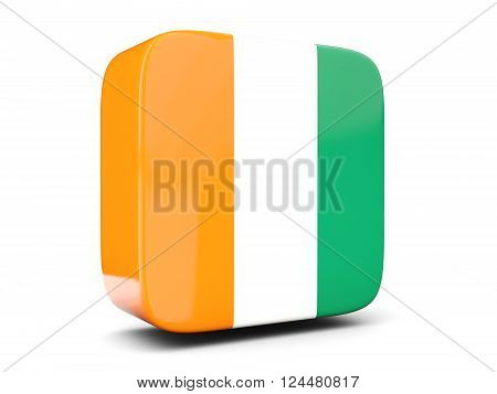 Square icon with flag of cote d Ivoire square isolated on white. 3D illustration