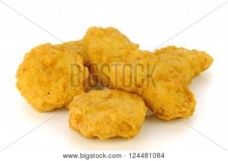 Fried Chicken Nuggets Isolated On White Background.