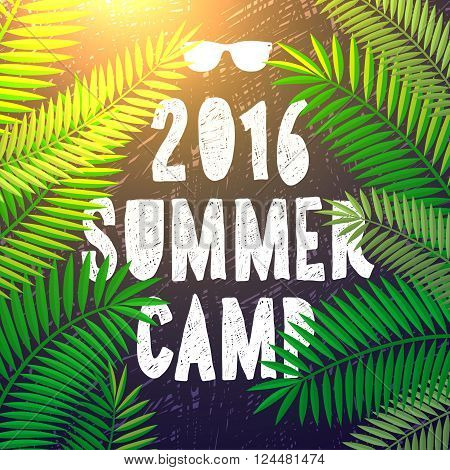 Summer camp 2016, themed camp and vacation poster, vector illustration.