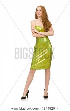 Red hair girl in sparkling green dress isolated on white