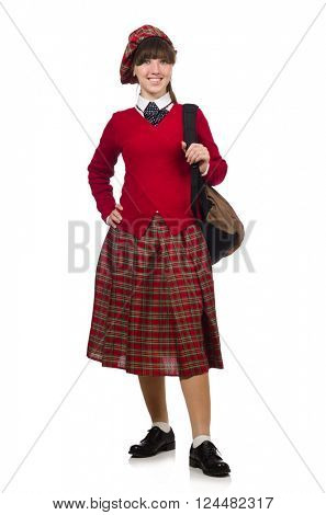 Girl in scottish tartan clothing isolated on white