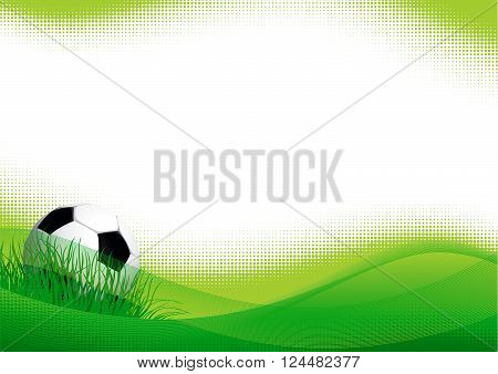 Sport soccer background. Vector background of soccer ball on green grass.