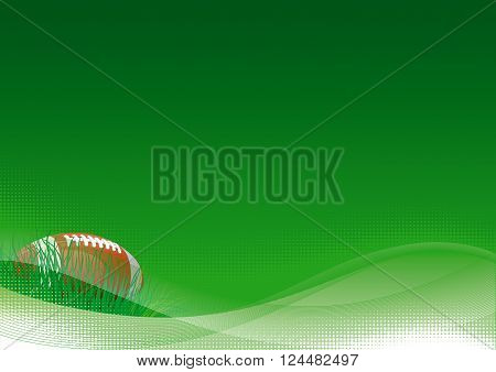 American football background. Vector background of American football ball with green grass.