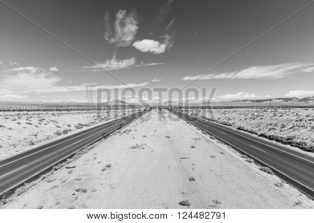 Interstate 15 between Los Angeles and Las Vegas in black and white.