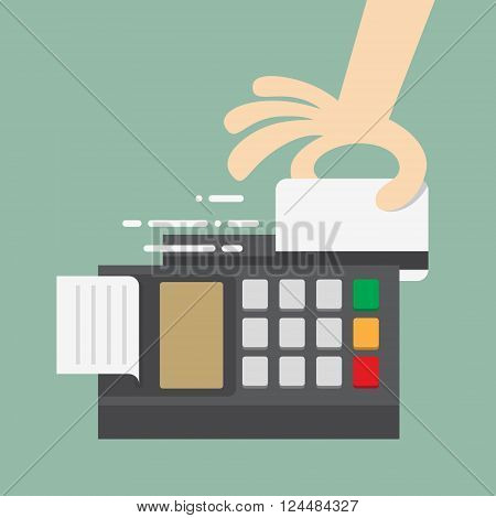 Swiping Credit Card. Business Concept Cartoon Illustration.