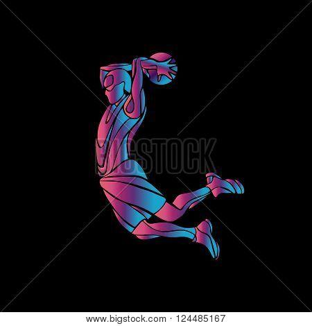 Basketball player Slam Dunk Neon Glow Silhouette. Creative vector illustration on black background