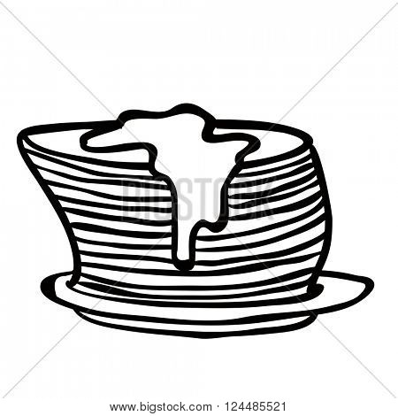 black and white pancakes cartoon
