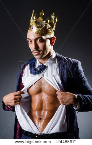 Ripped young man in studio concept