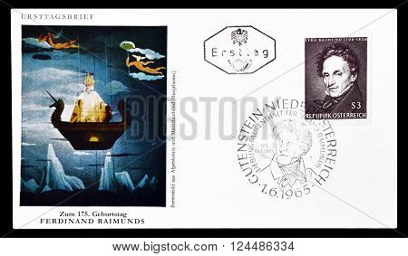 AUSTRIA - CIRCA 1965 : Cancelled First Day Cover letter printed by Austria, that shows portrait of Ferdinand Reimunds.