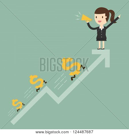 Business woman with graph and dollar signs. Business Concept Cartoon Illustration.