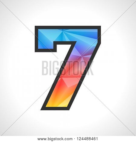 Vector Geometric Gradient Design Triangular Polygonal Font. Children style Number 7