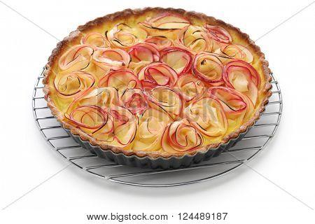 apple rose tart on cake cooler