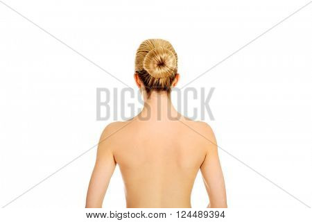 Back of young woman after bath or spa.