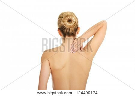 Young woman with nape ache.