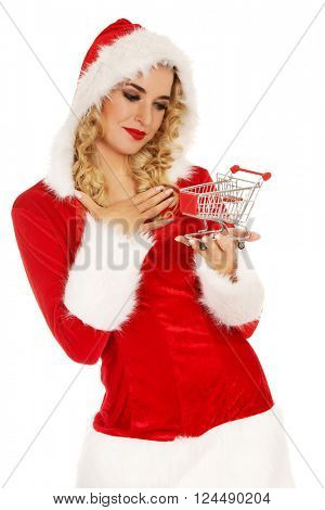 Santa woman holding a small trolley