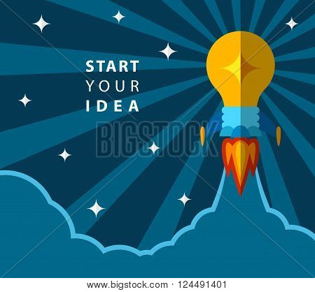 Start your idea, creative poster with light bulb transformed into rocket. Rocket flying to the space. Vector EPS 10. Removable text, put your own if needed.