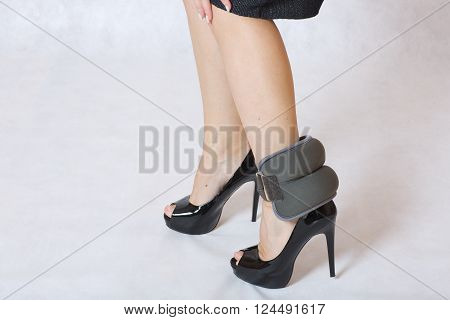 Slim Legs With Ankle Sand Weight On High Heels