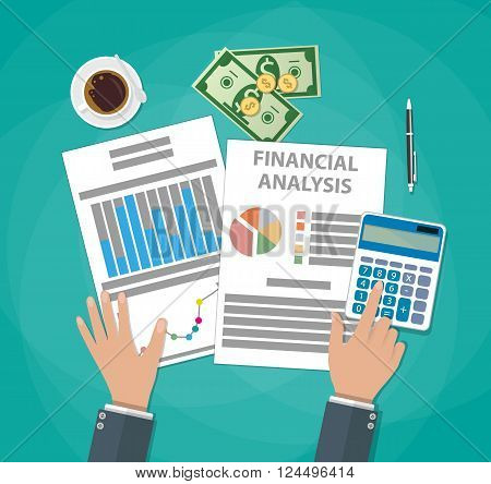 Financial calculations. Working process. businessman hands, calculator, financial reports, money, coins, pen, coffee cup. Top view. vector illustration in flat design on green background