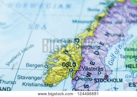 Photo of a map of Norway and the capital Oslo .
