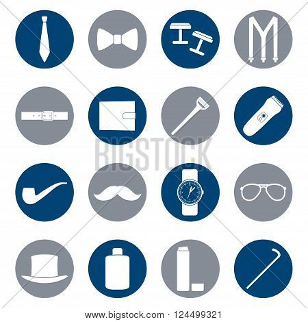 Set of white icons of men's accessories on color background, vector illustration