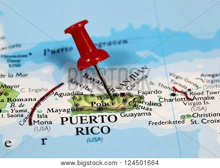 Map with pin point of Puerto Rico in Caribbean ** Note: Visible grain at 100%, best at smaller sizes