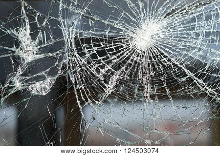 destroyed window of a railway carriage in a Train Station in Magdeburg
