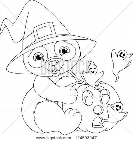 Halloween panda holding pumpkin with ghosts, coloring page