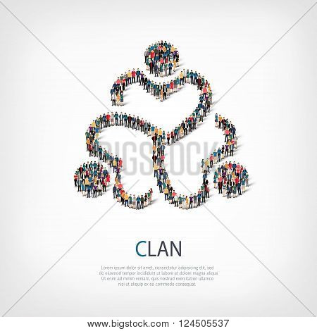 Isometric set of styles, clan , web infographics concept  illustration of a crowded square, flat 3d. Crowd point group forming a predetermined shape. Creative people. - Vector Illustration. Stock vector.