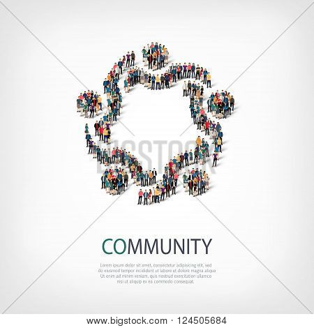 Isometric set of styles, community , web infographics concept  illustration of a crowded square, flat 3d. Crowd point group forming a predetermined shape. Creative people. - Vector Illustration. Stock vector.
