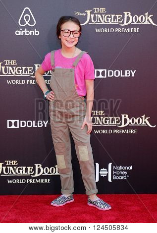 Aubrey Anderson-Emmons at the Los Angeles premiere of 'The Jungle Book' held at the El Capitan Theatre in Hollywood, USA on April 4, 2016.