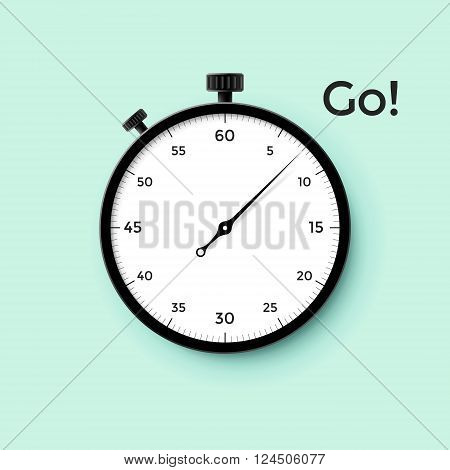 White stop watch face with black pointer and word Go on mint background. Vector Illustration