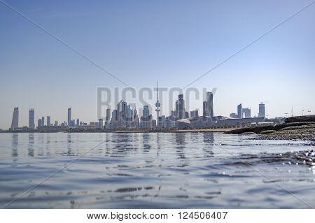 kuwait city sky scrapper from shuwaikh port