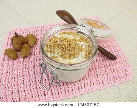 Homemade almond milk pudding with almond brittle