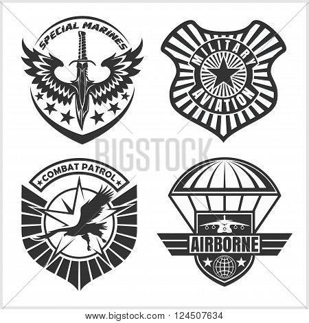 Military airforce patch set - armed forces badges and labels logo. Vector set. poster