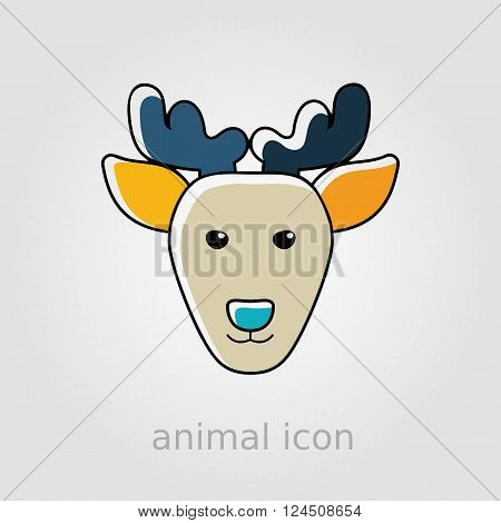 Deer flat icon. Animal head vector illustration eps 10