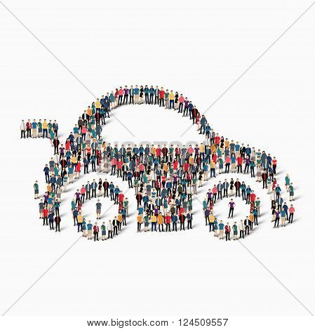Isometric set of styles, car , web infographics concept  illustration of a crowded square, flat 3d. Crowd point group forming a predetermined shape. Creative people. - Vector Illustration. Stock vector.