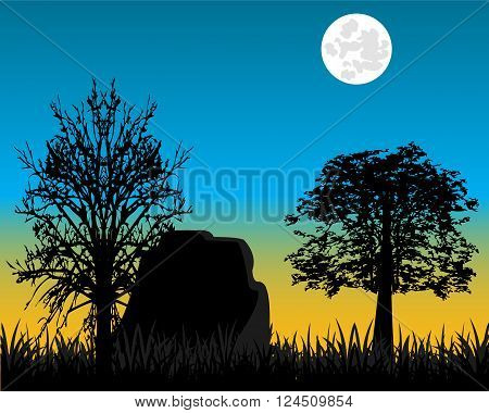 The Matutinal landscape on nature and tree.Vector illustration