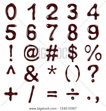 Numbers and symbols written with chocolate syrup